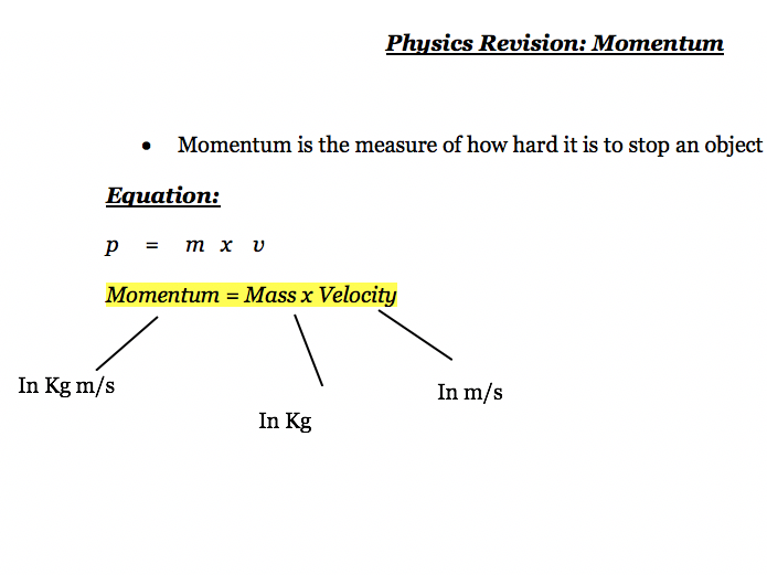 Momentum - Notes Physics AQA Combined Science GCSE