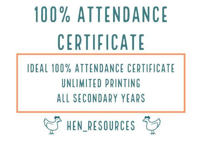 100% attendance certificate