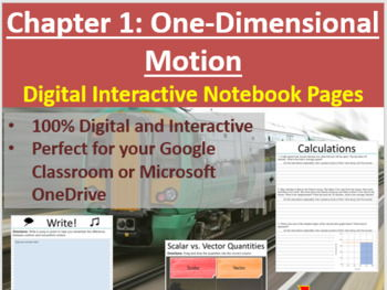 One-Dimensional Motion - Digital Interactive Notebook Pages