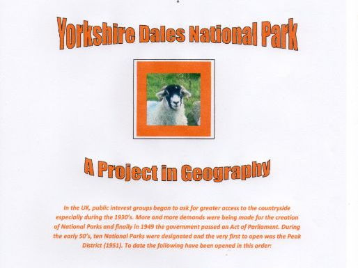 Geographical Project based on The Yorkshire Dales National Park