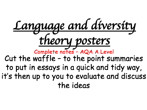 Language and Diversity Theorists   Revision Posters   A Level English Language