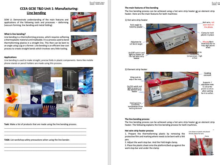 CCEA GCSE T&D Unit 1: Manufacturing: Line Bending (PP, notes, posters)