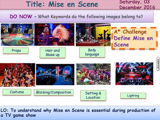 TV Game Mise en Scene GCSE Media Studies UNIT 1 Media Exams TV Game Shows