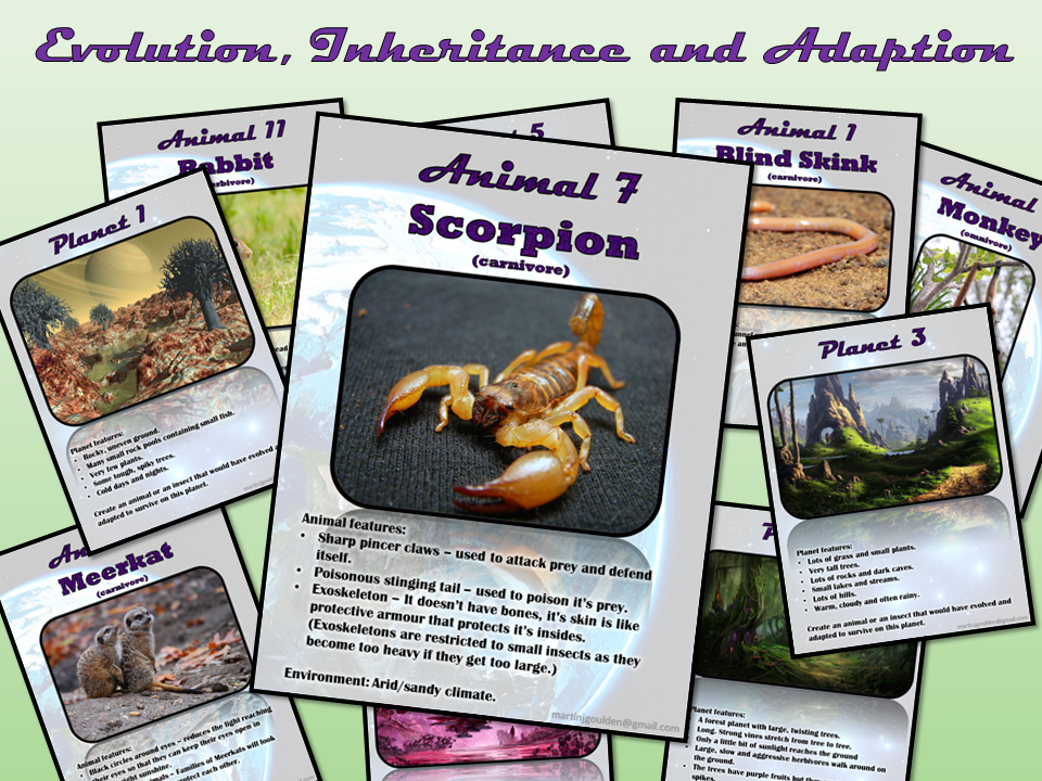 Evolution, Inheritance and Adaptation - Animal  and planet profiles - Create your own 3D creature!