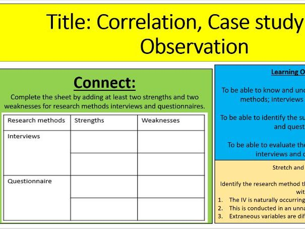 Research methods: Correlation, case study and observation