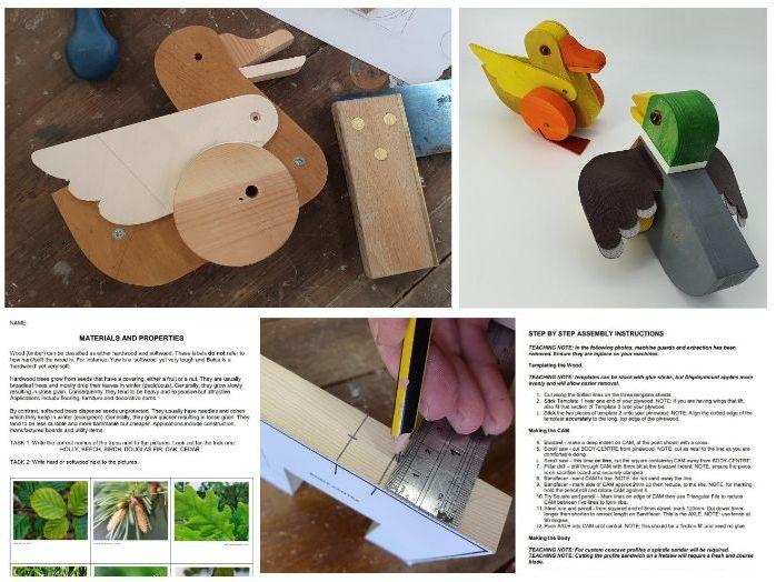 Mechanical Bird Project (Teaching Resources) KS3 Automata / Automaton CAM Toy Plans  PDF
