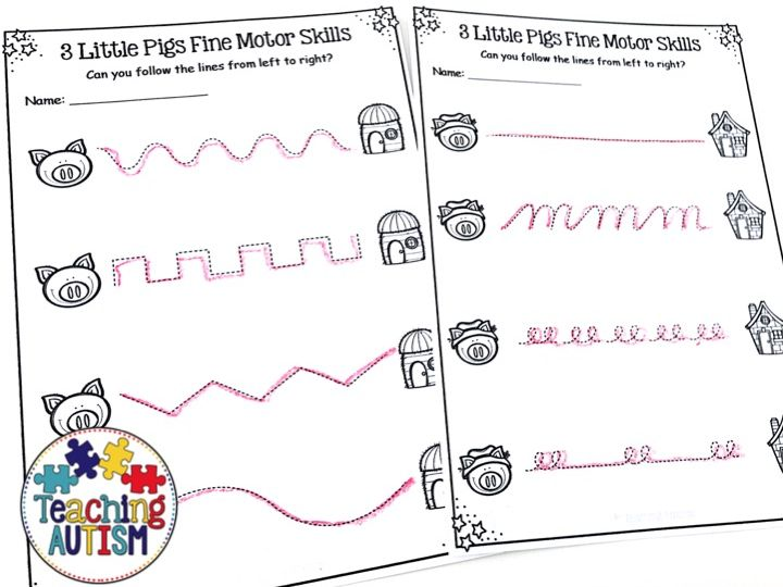 3 little pigs worksheets fine motor skills by teachingautism teaching resources. Black Bedroom Furniture Sets. Home Design Ideas