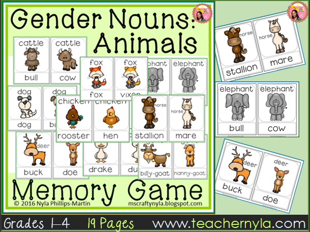 Gender Noun Animals - Memory Game