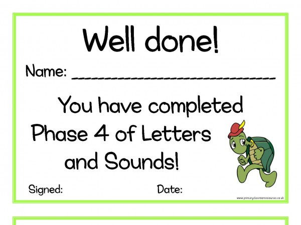 Letters and Sounds Certificates Phase 4