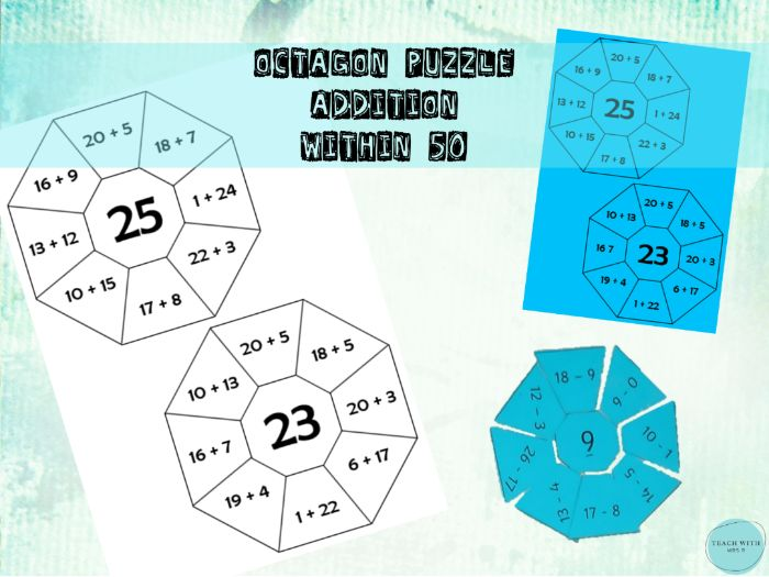 Octagon Maths Puzzle / Game Addition within 50