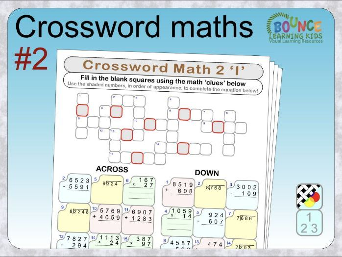 Crossword maths 2 distance learning worksheets
