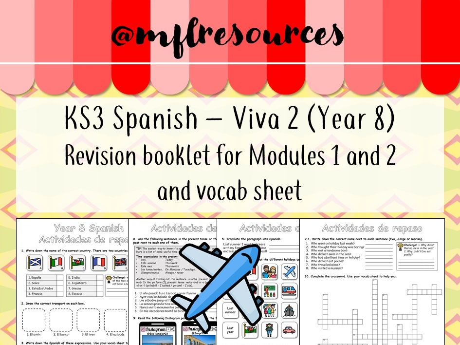 Spanish KS3 - Viva 2 (Yr8) Revision booklet for Modules 1 and 2
