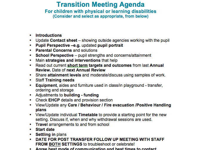 Transition meeting agenda for pupils with multiple needs
