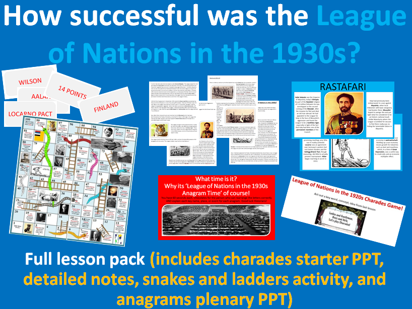 League of Nations, 1930s - Full-lesson pack (charades starter, notes, snakes & ladders, plenary)