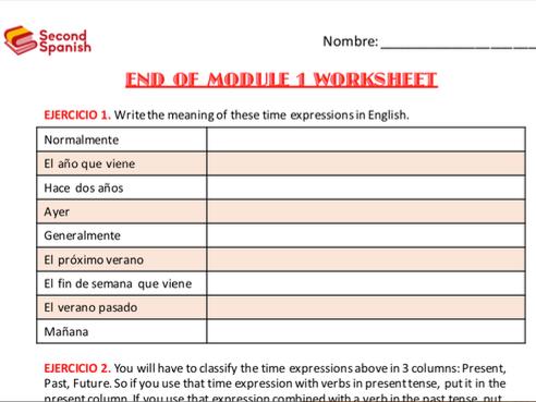 Viva 2 End of Module 1 Worksheet