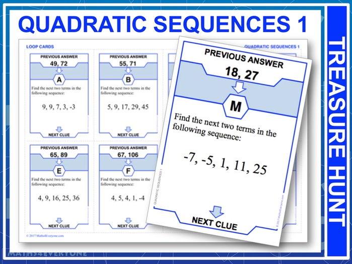 Quadratic Sequences 1 (Treasure Hunt)