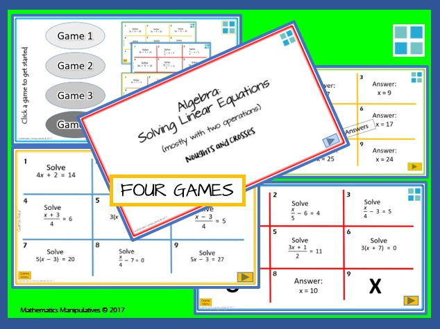 Algebra Solve Linear Equations with Two Operations Noughts and Crosses PowerPoint Games