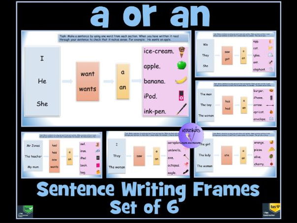 Set of Six Sentence Writing Frames For The Correct Use of 'a' or 'an'