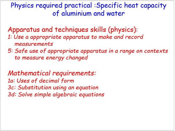 New AQA GCSE physics required practical: Specific heat capacity