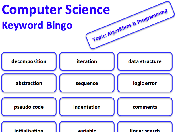 Computer Science keyword bingo game (Algorithms & Programming)