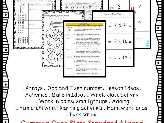 Grade 2 - Arrays, Odd and Even numbers Bundle - CCSS Aligned