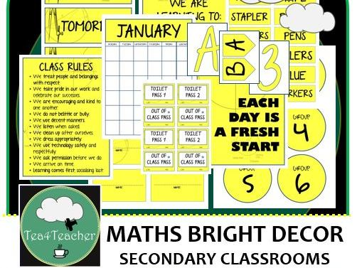 Mathematics Décor Set for Secondary Classrooms x110+ pages of Labels Signs Headings Calendar