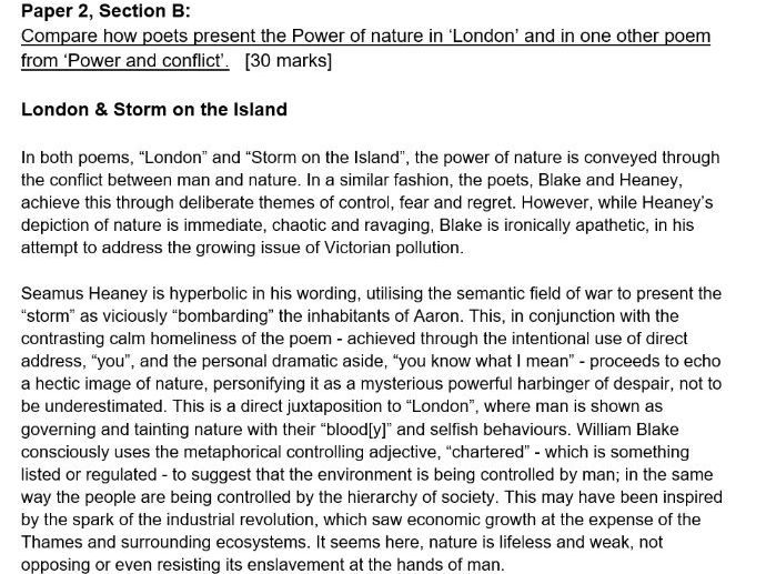 AQA Exemplar London & Storm on the Island