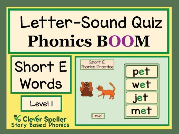 Phonics Practice Boom Cards Short E Words Level 1