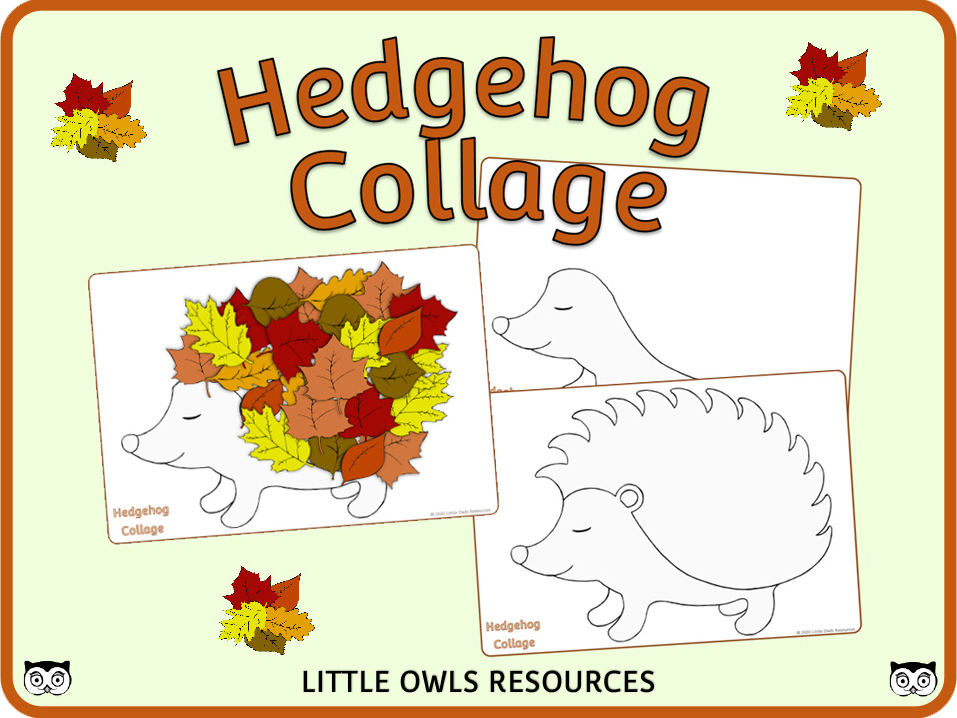 Autumn Hedgehog Collage Activity