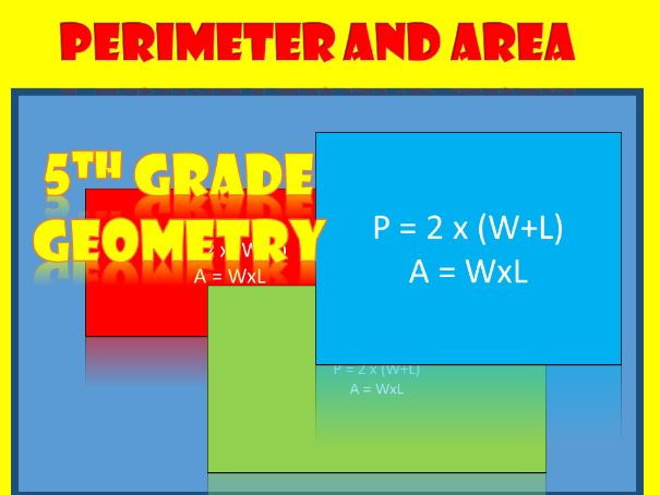 Perimeter and area of rectangles.  5th grade.