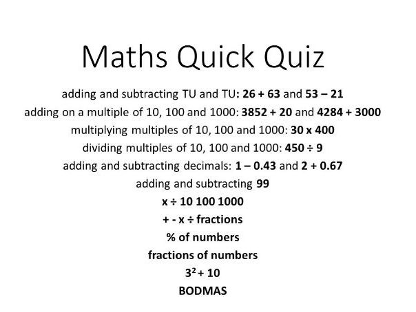 Maths SATs Year 6 KS2 Arithmetic Revision Quiz