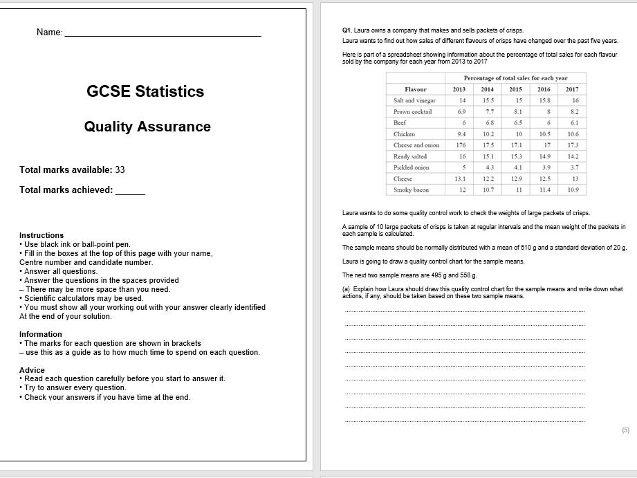 Quality Assurance Exam Questions (GCSE Statistics)
