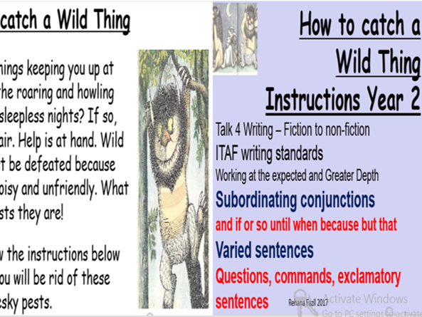 Year 2 Instructional Writing How to catch a wild thing