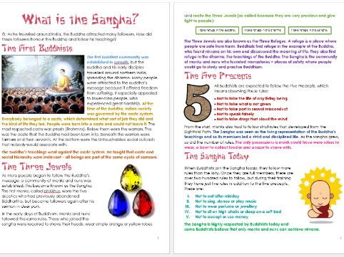 Buddhism: The Sangha: Differentiated Information and Activity Sheets