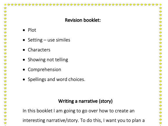 Narrative writing and comprehension questions booklet.