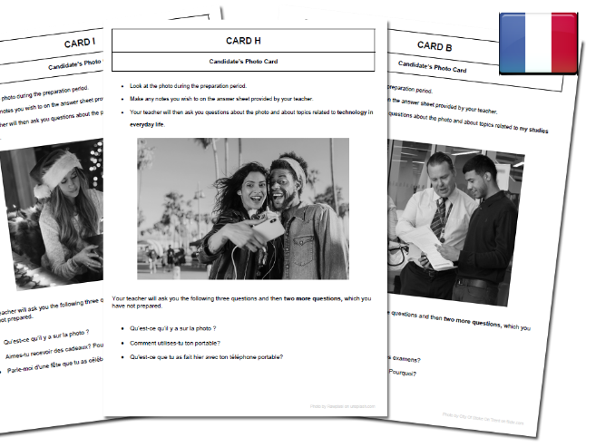 French AQA GCSE  Free time activities Photo Cards