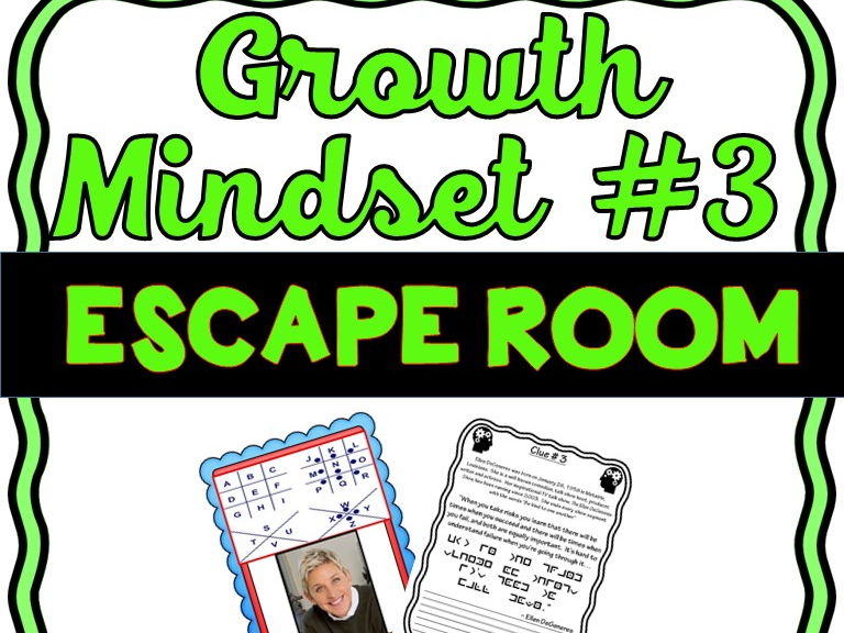 Growth Mindset Escape Room #3 - No Prep - Modern quotes from famous figures