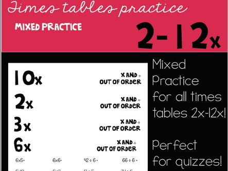 Mixed Practice Sheets  for Times Tables 2-12
