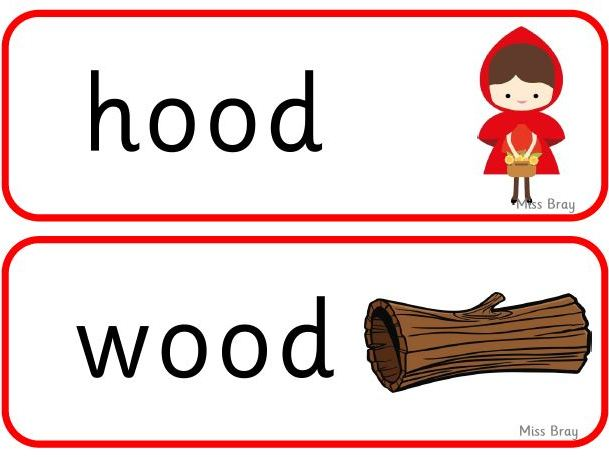 'oo' 'book' word cards - Phase 3 Phonics