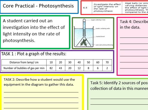 EDEXCEL CB6 CORE PRACTICAL WORK/REVISION SHEET/MAT FOR LIGHT INTENSITY AND PHOTOSYNTHESIS