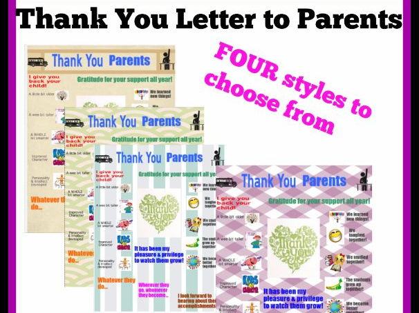 Parent Thank You letters