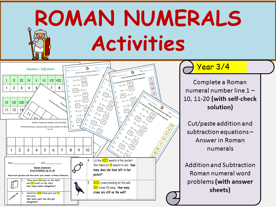 Roman Numerals Addition/Subtraction Equations to 20; Word Problems + Answers, Cut/Paste Activities