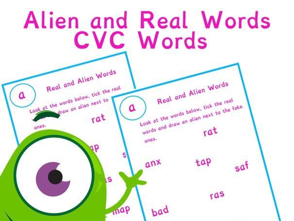 Alien and Real Word Worksheet Bundle | Phonics Resources CVC | Phonics Screening Check Year 1