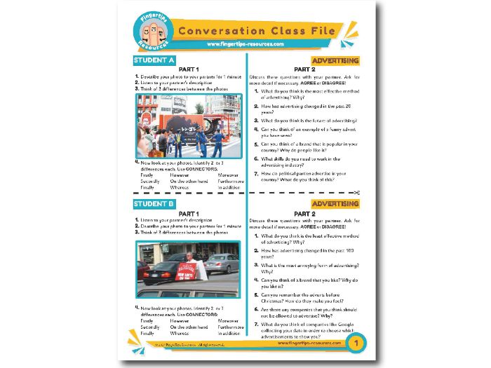 Advertising - ESL Conversation Activity