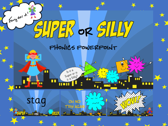 Super or Silly Words - PowerPoint for Phonics Screen Preparation