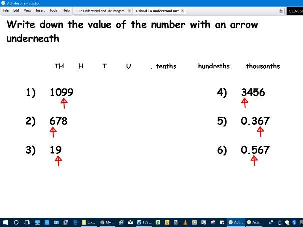 lesson to understand ordering integers and their value