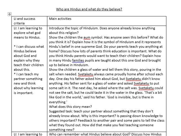 Year 3/4 RE unit of work - Who are Hindus and what do they believe?
