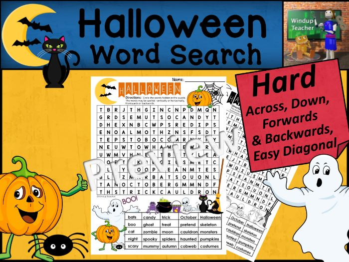 Halloween Word Search | HARD Puzzle | Ready to Go!