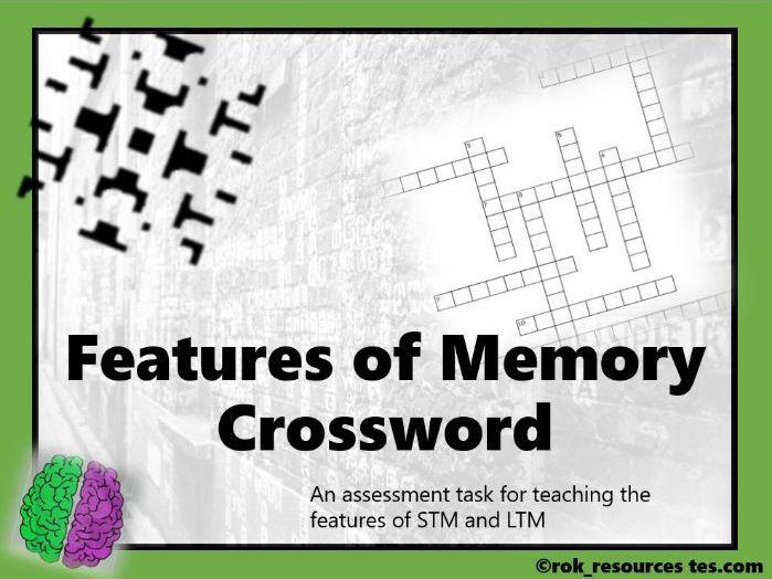 Memory Crossword 1 - free worksheet