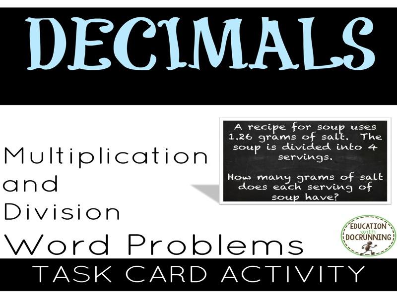 Decimals: Word Problems Multiplication and Division Task Cards